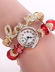 Xu™ Ladies' Fashion Metal LOVE Colorful Diamonds Bracelet Quartz Watch