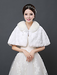 Wedding  Wraps Capelets Sleeveless Faux Fur Ivory Wedding Lace-up