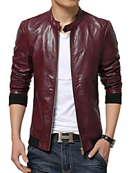 Men's Stand Collar Zip Closed Synthetic PU Rider Slim Leather Jacket , Lined
