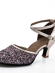 Customizable Women's Dance Shoes Modern Synthetic Customized Heel Black / Blue / Silver