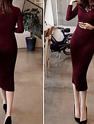 TYT Women's Solid Color Black Dresses , Sexy / Bodycon / Casual / Party / Work High-Neck Long Sleeve