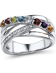 Sterling Silver set with Amethyst\Aquamarine\Blue Topaz\Garnet\Citrine\Peridot\Rhodonite\Diamond  Women's Fashion Ring