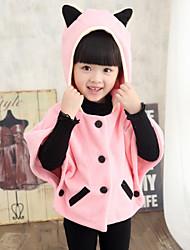 Girl's Fashion Simplicity Cotton Blend Tailored Collar Winter Woolen  Rabbit  Ear Overcoat