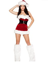 Polyester Strapless Sexy Women's Christmas Costume(Dress+Hat+Legwear)