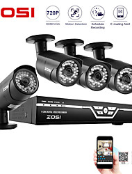 ZOSI@8CH CCTV System HDMI 720P DVR & 4PCS 720P 1.0MP Camera 100ft Night Vision Weatherproof Security System
