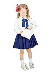 Fashion Children Girl Dress Bowknot Button Fastening Turn-Down Collar Long Sleeve Dress