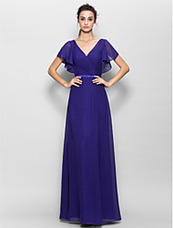 Lanting Bride® Floor-length Chiffon Bridesmaid Dress Sheath / Column V-neck with Criss Cross