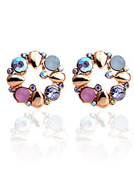 Earring Flower Stud Earrings Jewelry Women Party / Daily / Casual Crystal / Gold Plated 2pcs