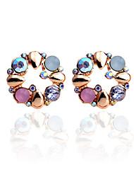 Boucles d'oreille goujon Cristal Strass Plaqué or Forme de Fleur Arc-en-ciel Bijoux Soirée Quotidien Décontracté 2pcs