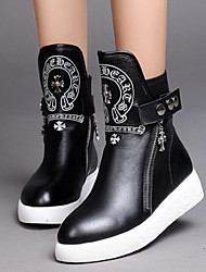 Women's Shoes Leather Platform Fashion Boots Boots Casual Black
