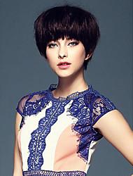 Sassy Pixie Haircut Human Virgin Remy Hand Tied -Top Short Straight Capless Hair Wigs