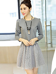 Women's Patchwork Black / Gray Dress , Casual Round Neck Long Sleeve