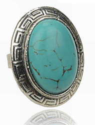 Vintage Look Antique Silver Oval Turquoise Tiger Amethyst Stone Adjustable Free Size Ring(1PC)
