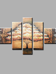 Ready to Hang Stretched Hand-Painted Oil Painting Canvas Wall Art Trees Beige Abstract Modern Five Panels
