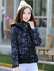 Women's Down Coat,Simple Casual/Daily Solid-Polyester Without Filling Material Long Sleeve Blue / White / Black
