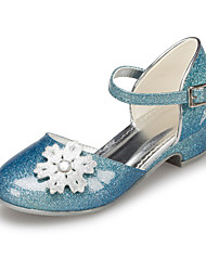 Girl's Spring / Summer / Fall / Winter Round Toe Leatherette Outdoor / Casual Low Heel Flower Blue