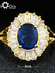 New 2015 Fashion Blue Cubic Zirconia Gold Plated Lady Ring For woman&lady
