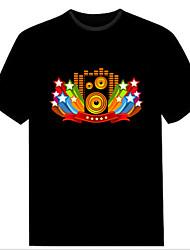 moda clube natal música de dança do partido da senhora acender intermitente painel el som activado levou t-shirt