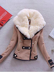 Moon Sunday Women's All Match Winter Solid Color Lapel Neck Plus Size Fur Collar Tweed Coat