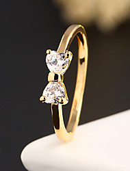Hanson Women's Korean-style High Quality Elegant Fashion Alloy Inlaid Zircon Jewelry Ring