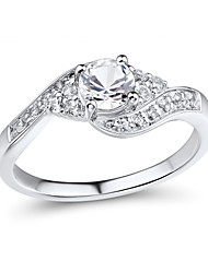 Women's Classic Sterling Silver set with Create White Sapphire Ring