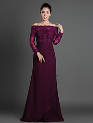 Sheath/Column Mother of the Bride Dress - Grape Floor-length Chiffon / Tulle