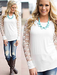 Women's Lace White Tops & Blouses , Casual / Lace Round Long Sleeve
