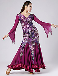 Printed Velvet with Ruffles Ballroom Dance Outfits for Women's Performance (More Colors)