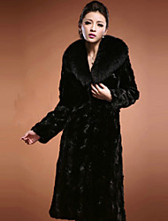 Women's Solid Color Black Coats & Jackets , Casual / Party Square Long Sleeve Mink heavy hair collar Plus size