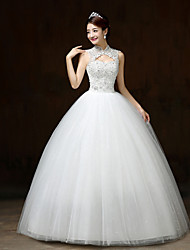 Ball Gown Wedding Dress Floor-length High Neck Satin / Tulle with Flower / Sequin / Beading
