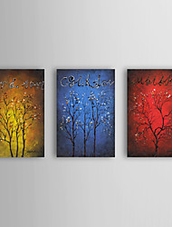 Oil Painting Modern Abstract Trees Set of 3 Hand Painted Canvas with Stretched Framed