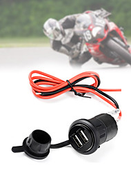 Waterproof Motorcycle Car Cigarette Lighter Socket Power Plug + Dual USB Charger