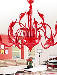 UMEI ™ lustre moderne lumière 18 lumières LED g4 peinture rouge / ampoule incluse / salon / chambre à coucher