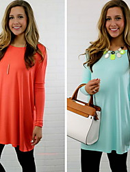 Women's Solid Color Blue / Orange Dresses , Casual Round Long Sleeve