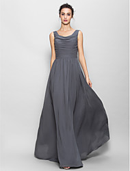 Lanting Bride® Floor-length Chiffon Bridesmaid Dress A-line Scoop with Ruching