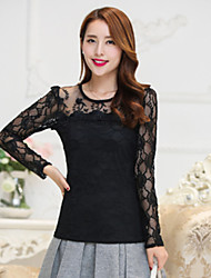 Women's Pink / White / Black Blouse ,Party/Work OL/Plus Sizes Breathable Mesh Round Neck Cut Out Slim Thin Elegant(Lace)