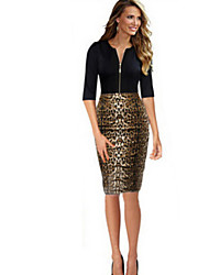 Dominic Women's Leopard Black Dresses , Bodycon / Print Round ½ Length Sleeve