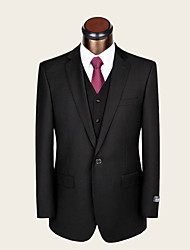 Suits Standard Fit Notch Single Breasted One-button Wool Solid 2 Pieces Black