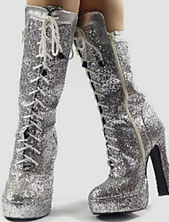 Women's Shoes Synthetic / Glitter Chunky Heel Fashion Boots /Motorcycle Boots Boots Party & Evening/Casual Silver/Gold