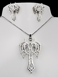 acero de titanio hueco de la moda de Europa y América del ancla de plata del collar pendientes de la CZ