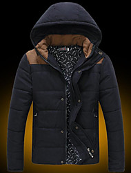 Men's Hoodie Coats & Jackets , Cotton Blend Long Sleeve Casual Hollow Out Winter WHAT LEES