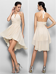 Chiffon Bridesmaid Dress Sheath/Column Halter