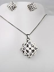 pendientes de la CZ de plata octogonal de acero de titanio de la moda de Europa y América del trébol del collar