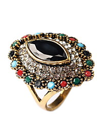 Colorful Retro Drop Diamond Ring Imitation Gemstones