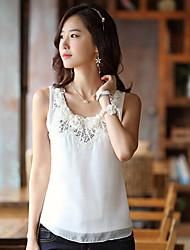 Women's Plus Size Lace White/Beige Vest,Lace Round Neck Sleeveless Lace