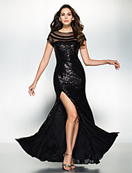 Formal Evening Dress - Black Trumpet/Mermaid Scoop Ankle-length Sequined