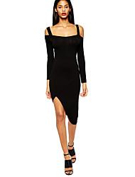 Women Dress Shoulder Straps Irregular Hem Long Sleeve Bodycon Party Dress