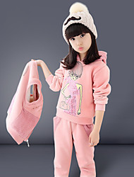 Girl's Fashion Simplicity Cotton Blend Winter/ Spring Cartoon Sports Three-piece Suit