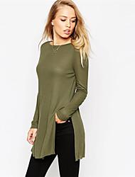 Damen Solide T-shirt,Rundhalsausschnitt Herbst Langarm Grün Baumwolle Undurchsichtig