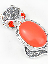 Fashion Forward Unique Antique Red Turquoise Gem 925 Silver Fox Pendants for Necklaces For Wedding Daily  1pc